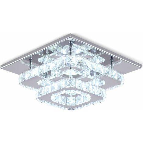Blanc Plafonnier Lampe Cristal Lampe de Plafond Acier Inoxydable LED Miroir  24W Lustre moderne en cristal pour salon, chambre