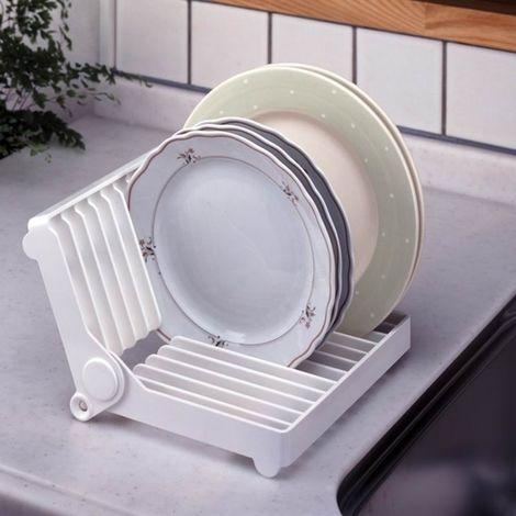Blanc pour égouttoir Porte-assiette pliable