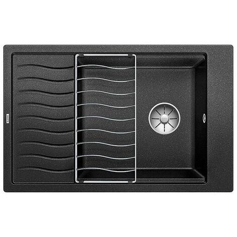 Blanco Evier ELON XL 6 S PuraDur en Silgranit 78x50cm cuve XL réversible + Egouttoir inox, Noir (525883)