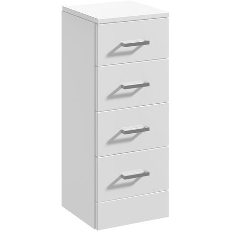 Blanco High Gloss White 300mm x 300mm 4 Drawer Unit