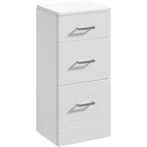Blanco High Gloss White 350 x 300mm 3 Bathroom Drawer Unit