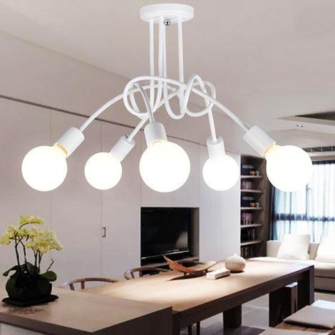 Blanco Lampara de Techo Vintage 5 E27 Lámpara Industrial Salón Retro de Comedor Hotel Hogar