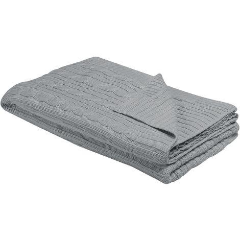 Blanket 110 x 180 cm Light Grey ANAMUR