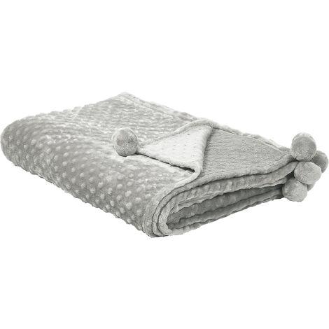 Blanket 200 x 220 cm Light Grey SAMUR
