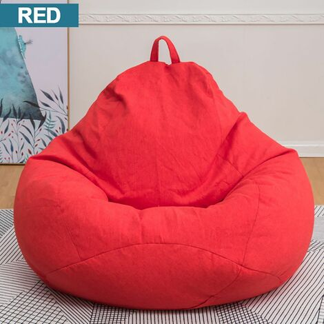 Blanket for Pear Beanbag Lazy Sofas Cotton Linen Deckchair Seat Bean Bag 100x120cm red WASHED