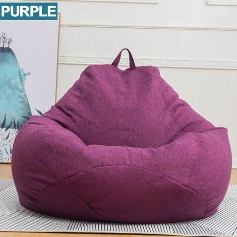 Blanket for Pear Pouf Lazy Sofas Cotton Linen Deckchair Seat Bean Bag 100x120cm purple WASHED