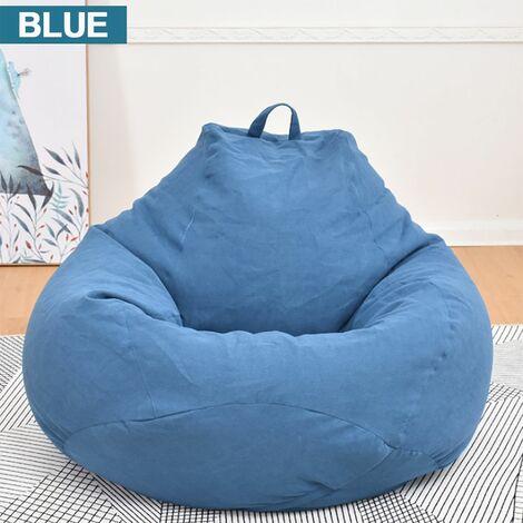 Blanket for Pear Pouf Lazy Sofas Cotton Linen Deckchair Seat Bean Bag 100x120cm royal blue WASHED