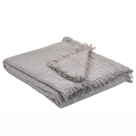Blanket Grey Modern Rectangular Throw Tassels Cotton 124 x 160 cm Kavaklar