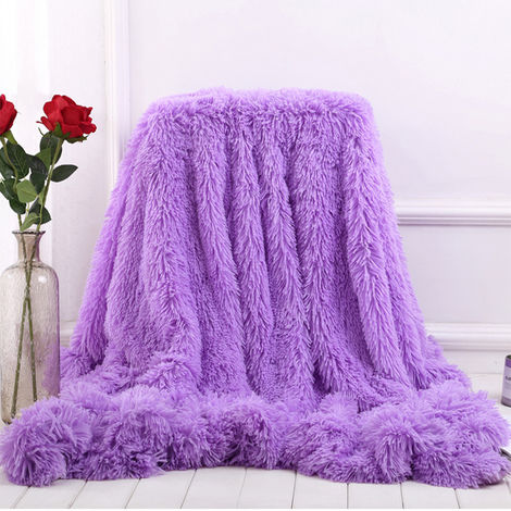 Blanket Large Soft Warm Fur Shaggy Fluffy Throw Plush Home Sofa bed Winter Plus