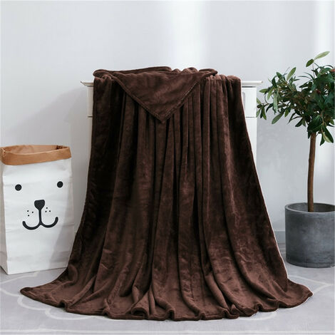 Blanket Soft Polyester Plush Warm Bed Sofa Throw Blanket coffee 120x200cm