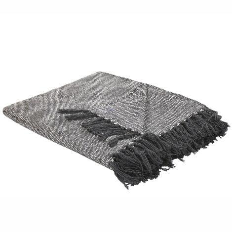 Blanket Throw Light Grey Cotton with Tassels 140 x 164 cm Karapuzulu