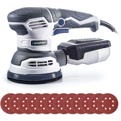 Blaupunkt Orbital Sander - 300W Electric – 125mm – 6 Speed - 12 Discs