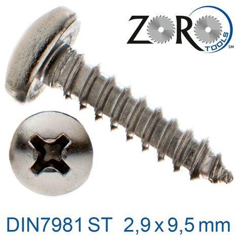 Blechschrauben Flachkopf 3,9x9,5mm Edelstahl A2 DIN7981C Kreuzschlitz PH 200Stk