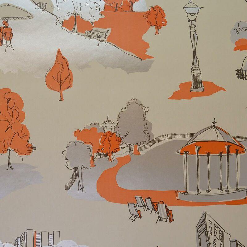 Image of Anthology Park Scene Gold Metallic Orange Print Wallpaper - Blendworth