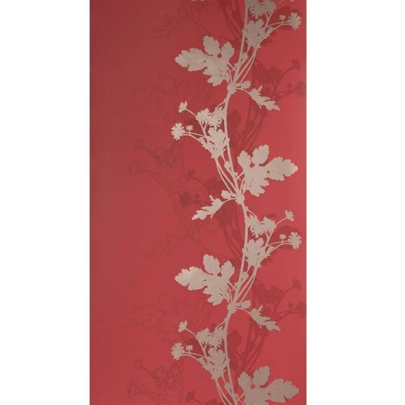 Image of Red And Gold Trail Botanic Wallpaper Matt Finish Feature Wall Traditional