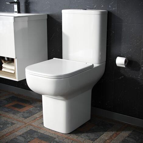 Bleu Close Coupled Toilet Pan, Cistern & Soft Close Seat