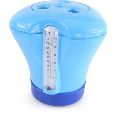 bleu Diffuseur de chlore à thermomètre intégré