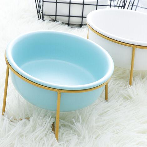 Bleu Porte-gamelle Surélevée Gamelle incliné pour Chien et Chat Céramique avec Support Petit