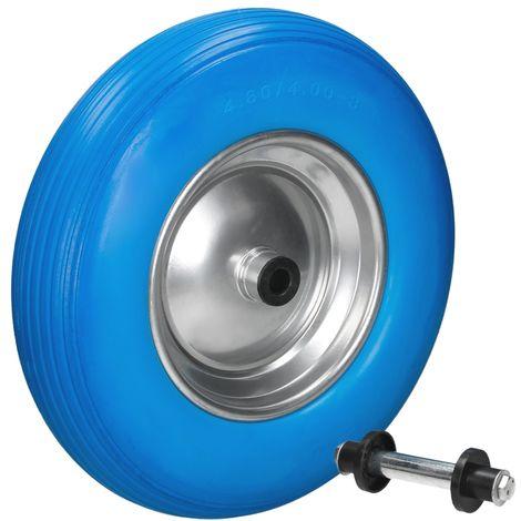 bleu Schubkarrenrad avec l'axe du caoutchouc de pneu de rechange PU 4,80 / 4.00-8 Ø 390 mm