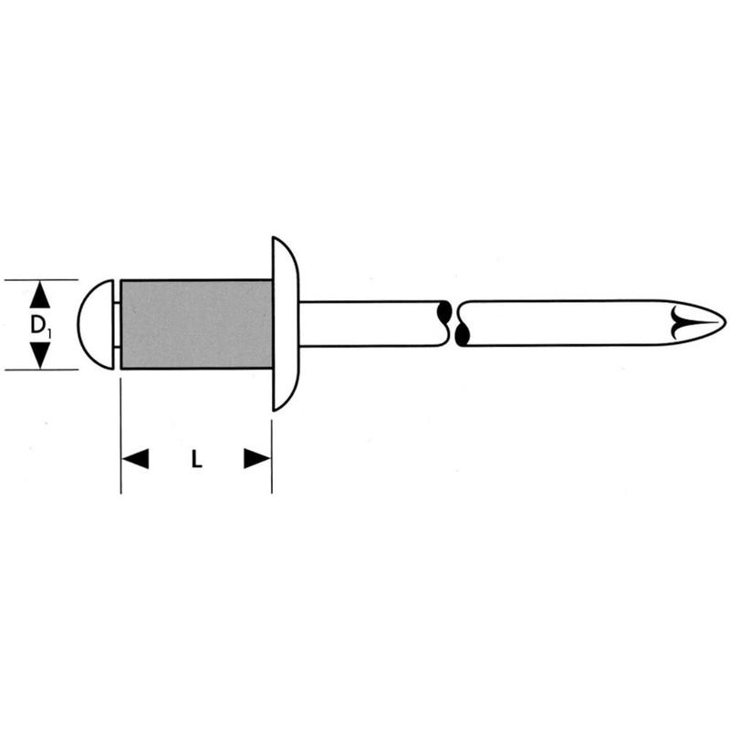500x Gesipa Blindniet Alu Standard Flachrundkopf 3,2 x 6 mm