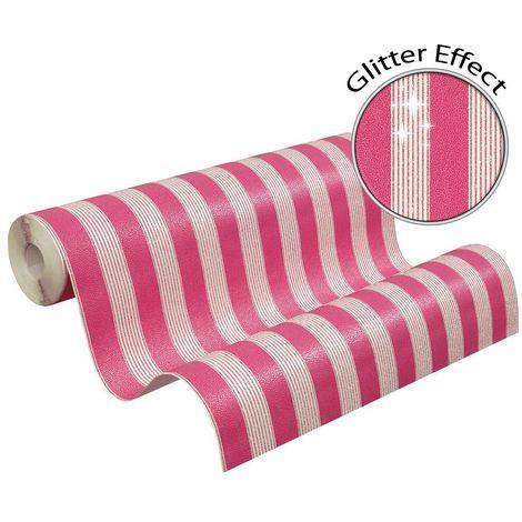Bling Bling Stripe Glitter Pink White Wallpaper Striped Paste Wall AS Creation