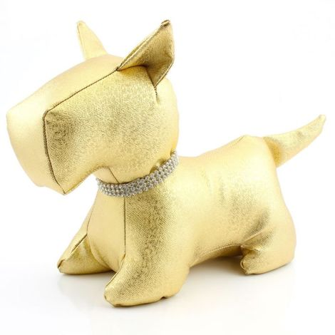 Bling Gold Dog Door Stop with Diamante Collar