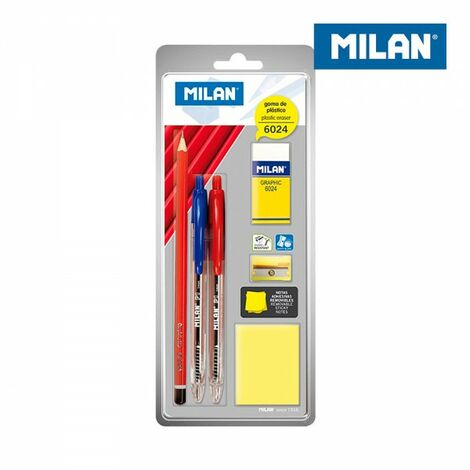 Blister 2 stylos, crayon graphite, gomme, taille-crayon et post-it milan.