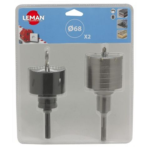 Blister 2 trépans sds+ HM HSS bi-métal D. 68 mm spécial boitier électrique - 2.3864068 - Leman