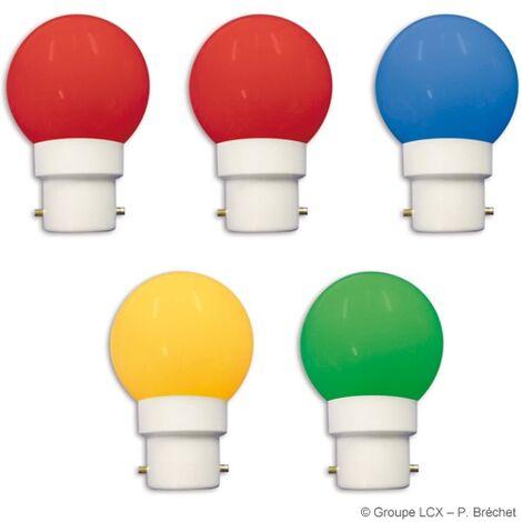 Blister 5 ampoules led B22 couleurs