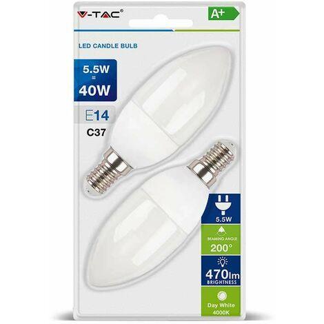 Blister Bombillas LED E14 V-TAC vela 5.5W