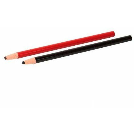 Blister de 2 crayons gras à tracer de couleur Noir et Rouge - 11200117 - Sidamo - -