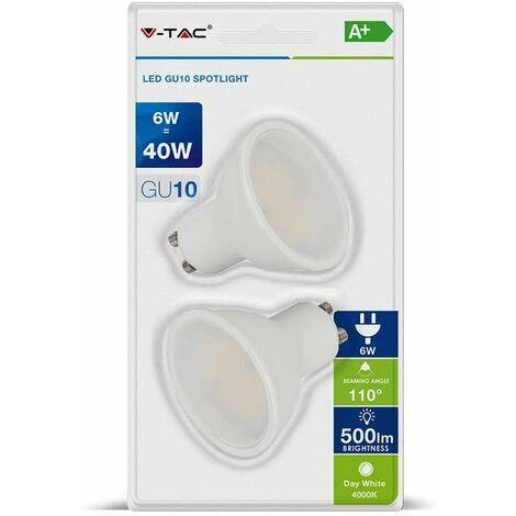 Blister Packing Duo - Dicroica led GU10 Premium SMD Opal 6W 110° 220V Temperatura de color - 6400K Blanco frío