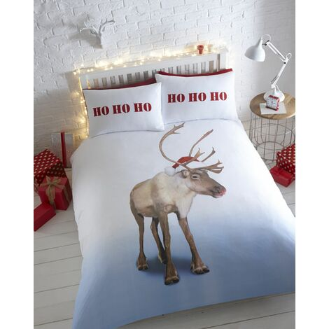 Blitzen Christmas Double Duvet Cover Set 100% Cotton Flannelette Thermal Bedding