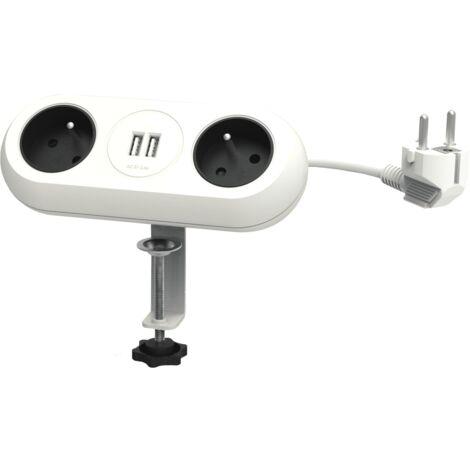 Bloc 2 prises blanches avec ports USB idéal pour Coworking - Orno