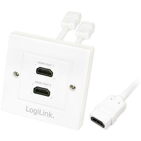 Bloc 2 prises murales encastrables - HDMI - blanc LogiLink