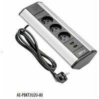 Bloc 3 prises + 2 USB - pose en angle / pour plan de travail