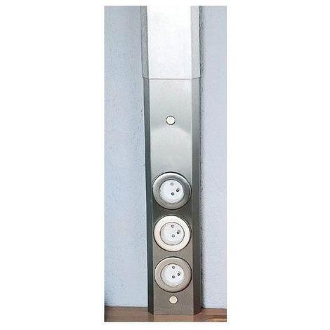 Bloc 3 prises frontal pose en façade - : - Puissance : Maxi 3500 W - Indice de protection : IP 20 - Décor : Inox - Type d'éclairage : - - Finition : Brossé - Largeur : 100 mm - Matériau : Acier - A