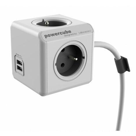 Bloc 4 prises 16A - terre câble 1.5M - 2 chargeurs USB 2.1A