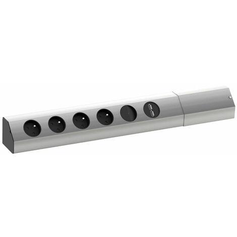 Bloc 4 prises d'angle casia - Version : 4 prises secteur + 2 USB - Interrupteur : Avec - BACHMANN