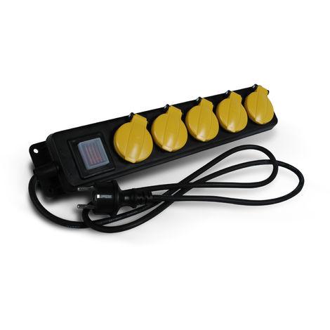 Bloc 5 prises 16A 2P+T etanche IP44 à clapet noir avec interrupteur - Debflex