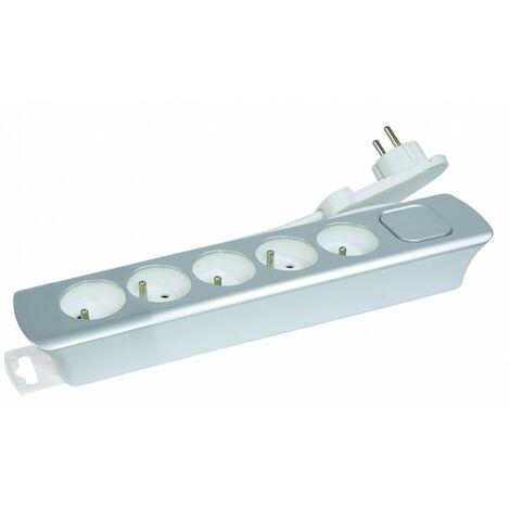 Bloc 5 prises+ Inter câble 3G1 1M40 design fiche plate silver