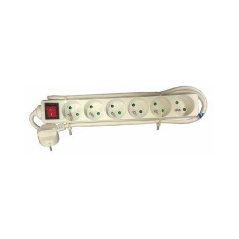 Bloc 6 prises blanc avec interrupteur