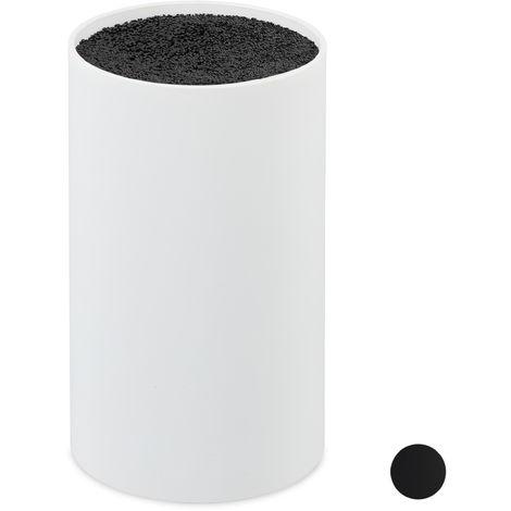 Bloc à couteaux non garni, Porte-couteaux, Rangement couvert, Range-couteaux universel HD 18x11 cm, blanc