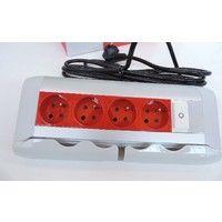 Bloc bureau multiprise 4X 2P+T 16A à détrompage rouge avec inter lumineux + cordon 3m HO5VVF3G1.5 LEGRAND 053527