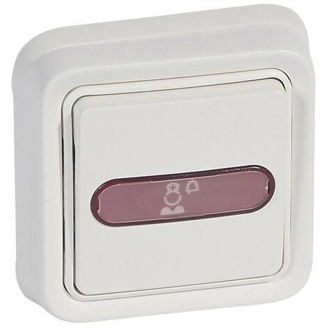 Bloc d'appel étanche IP55 adapté aux milieux humides avec témoin rouge de retour d'appel livré complet blanc (078249)