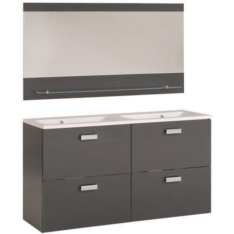 Bloc de SDB avec un sous-vasque, une vasque et un miroir coloris gris brillant - Dim : H 65 x L 120 x P 37 cm