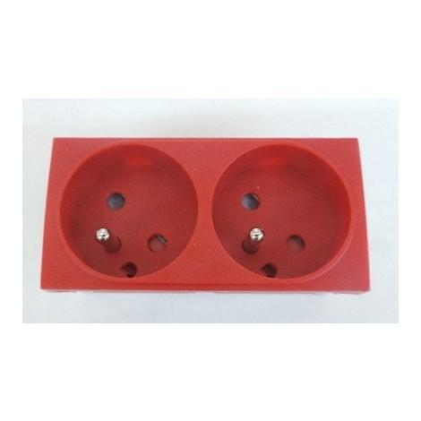 Bloc double prise 2X 2P+T 16A à detrompage rouge format 45X90mm à clipser dans goulotte d'installation IBOCO 45021