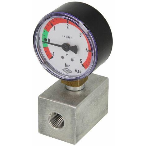 """Bloc en aluminium avec vacuo-manomètre -1 à +5 bar, 1/4"""" x 1/4 """" FF"""