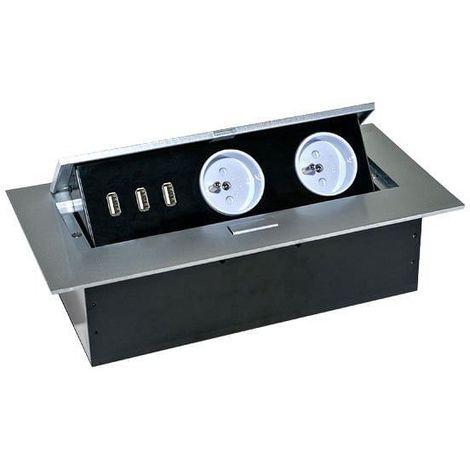 Bloc escamotable avec 2 prises 230V et 3 prises USB - Orno
