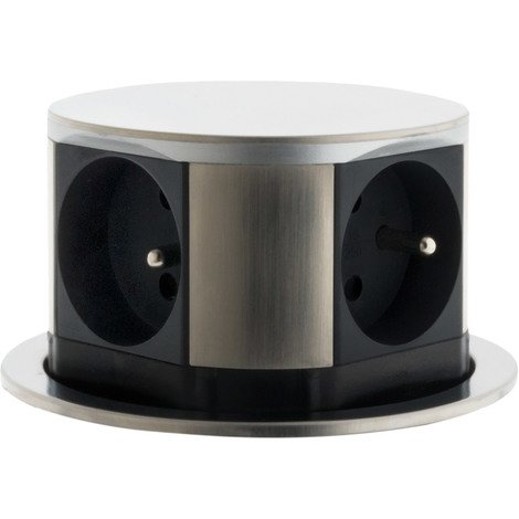 Bloc multiprise encastrable compact 4 prises 16a 2p t finition inox otio 760096 - Bloc cuisine compact ...